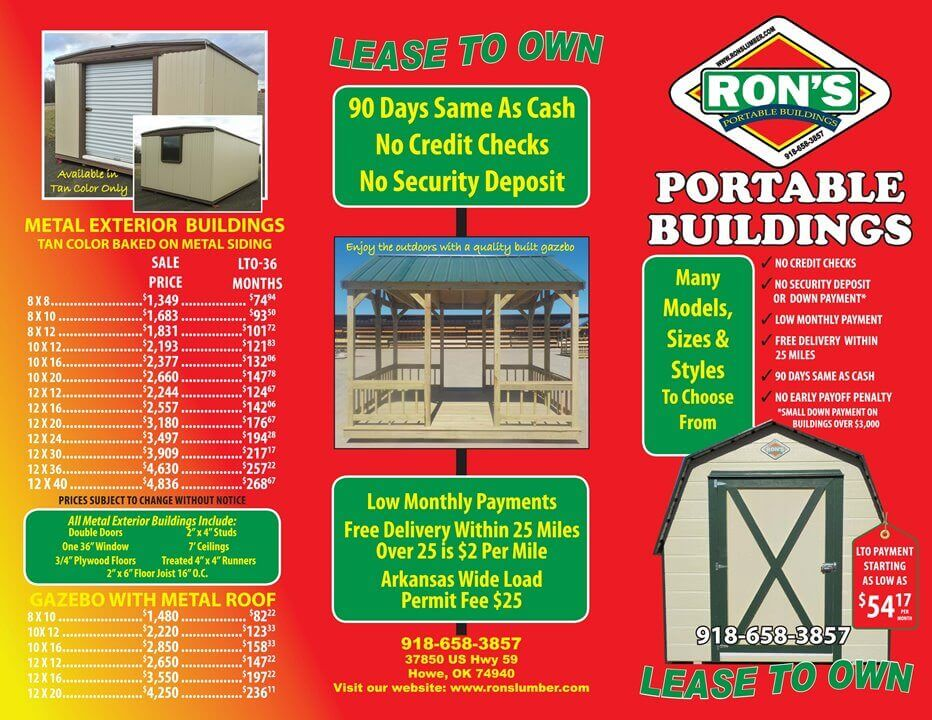Portable Building Sales | Ron's Lumber & Home Center