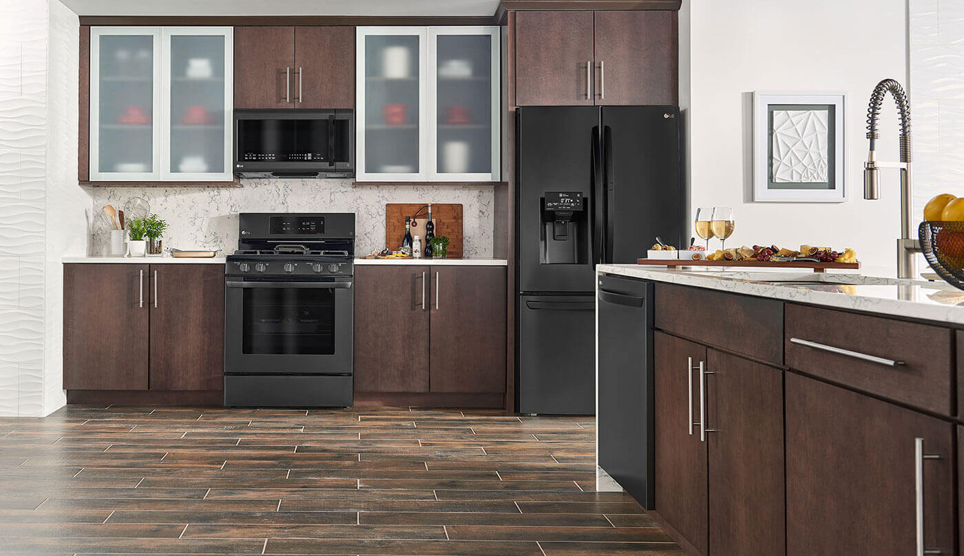 LG example of Matte Black Stainless Steel Appliances in Brown Kitchen